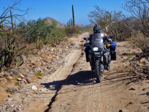Baja Mexico BMW F800GS riding on rocks and sand