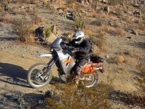 Aggressive Adventure Bike Rider