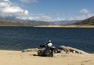 Adventure Rider enjoys the veiw at Lake Isabella
