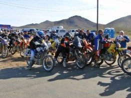 Riders waiting in line for gas on the LA Barstow to Vegas ride