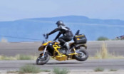 "Chris ""Teach"" McNeil highsides his Twisted Throttle BMW F800GS"