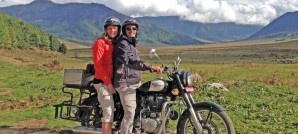 Andy and Emilie on Royal Enfield
