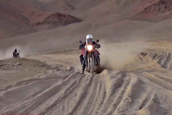Riding through bull dust at 16,400 feet (5,000 meters) elevation in the Himalayas.