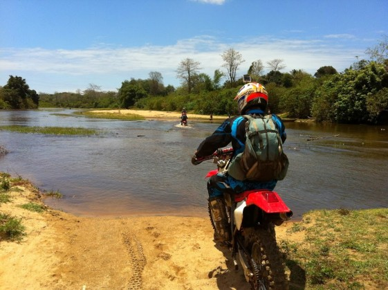 Water crossing touring Madagascar