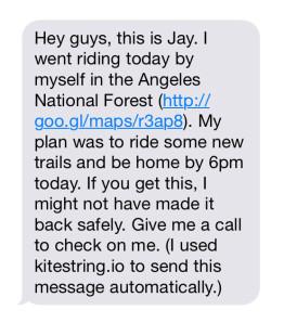 kitestring screenshot message
