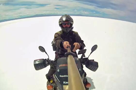 Alex Chacon rides the world's largest salt flat Salar de Uyuni.