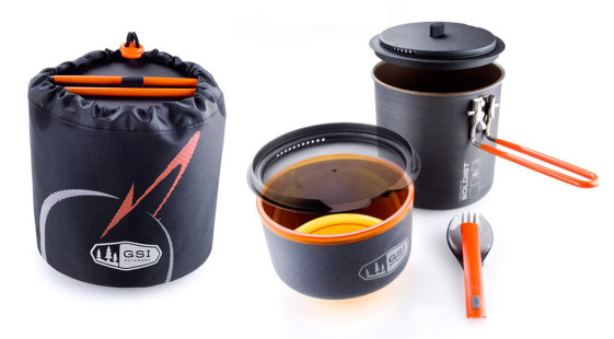 GSI Outdoors Pinnacle Soloist Cookset for motorcycle camping gear