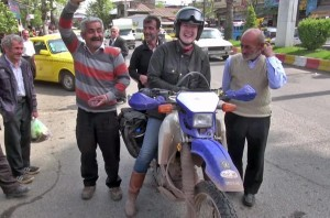 Lois Pryce in Tehran, Iran on a Motorcycle Holiday