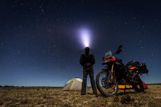 Enjoying a night of motorcycle camping