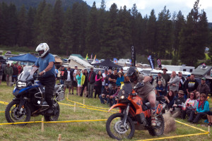 Touratech's Eric Archambault wears tight shorts