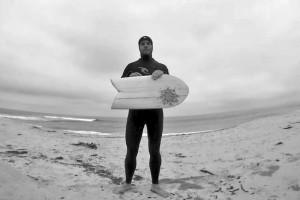 Wooden minimalist surfboard
