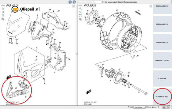 2015 Suzuki DL650 V-Strom Parts Catalog photo DL650X