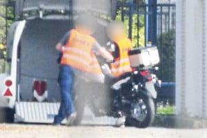 Suzuki V-STROM 650 spy photo loading into van