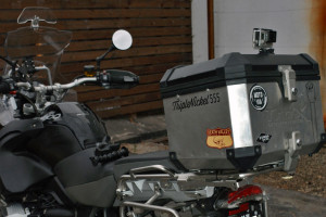 Top box mounted GoPro for filming moto videos on your BMW R1200GS