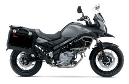 USA V-Strom 650XT includes crash bars, windscreen and crash panniers standard.
