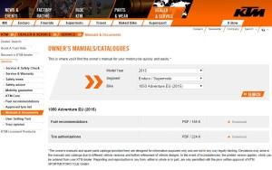 KTM 1050 Adventure Owner's Manual download.