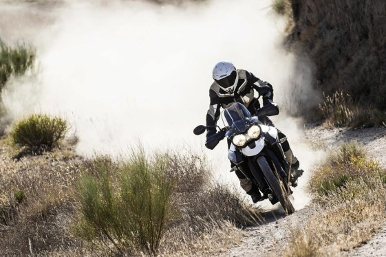 2015 Triumph Tiger 800 XC white riding single track