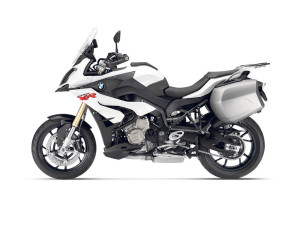BMW S1000XR with touring cases in white.