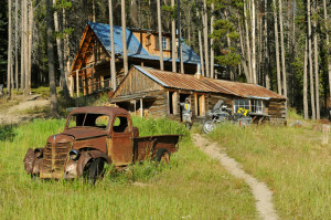 Old abandoned truck on the IDBDR Idaho Backcountry Discovery Route