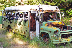 Abandoned bus on the IDBDR Idaho Backcountry Discovery Route