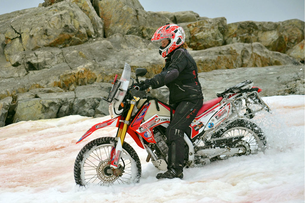 Riding motorcycle across antarctica