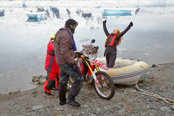 Celebrating ride of motorcycle across Antarctica