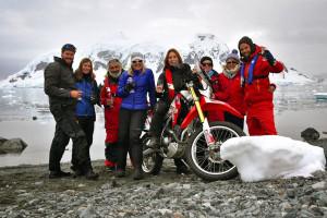 Celebrating ride of motorcycle across Antarctica
