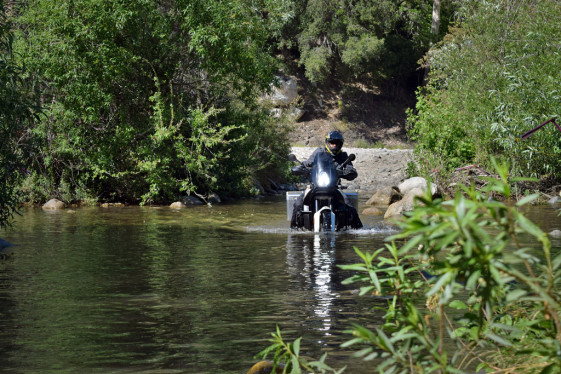 water crossing with panniers