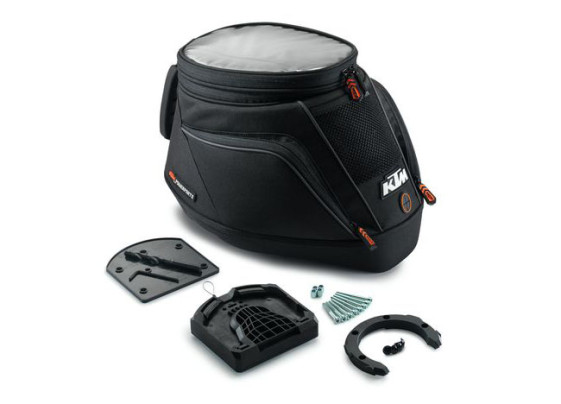 The KTM quick release tank bag comes with everything you need to install it, except a drill.