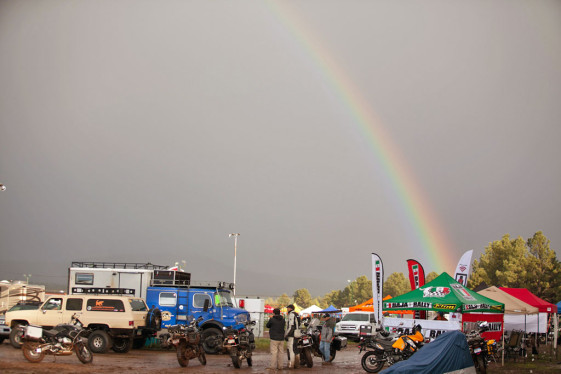 Rainbow over the baja rally tent