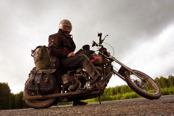 Doug Hothke rides the world on his 1962 Harley Panhead Chopper/