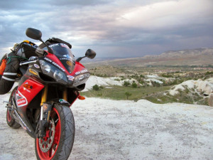 Nick Sanders rides his YZF-R1 round the world.