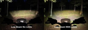 low beam LED handguard light comparo