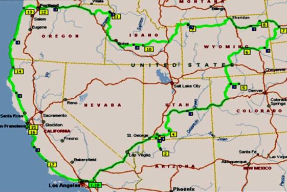 5000 mile journey across us