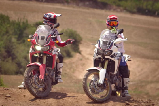 Marc Marquez and Joan Barreda sitting on new africa twin