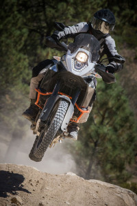 KTM 1190 adventure r jumping up the hill