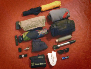 Gear stuffed in Giant Loop Mojavi Saddlebag