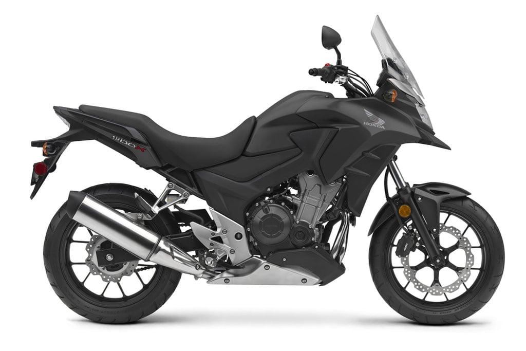 The new 2016 Honda CB500X in Matte Black Metallic color.