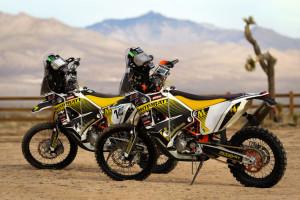 two ktm 450 rally bikes
