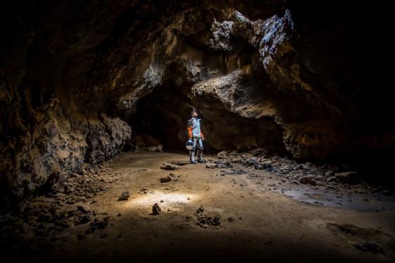 Lava Tube Cave skylight in the Mojave National Preserve