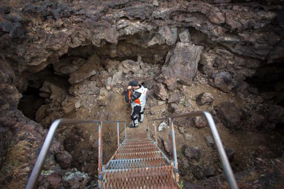 Lava Tube Cave entrance in the Mojave National Preserve