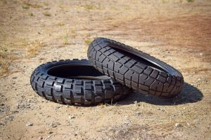 DOT Knobby tire and 70/30 Dual Sport tire