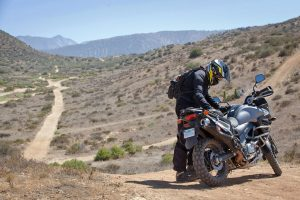 resting after the off-road test of the v-strom 650 xt