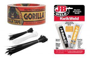Zip ties, J-B Weld and Gorilla Tape