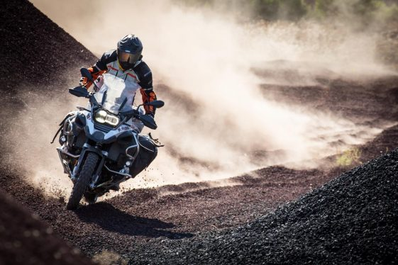 riding a cinder cone BMW R1200GS Adventure