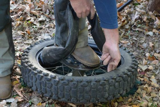 tire puncture repair disc side up