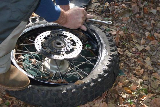 Motorcycle Puncture Repair Tips - putting the bead in the drop center