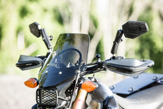 WR250R accessories - Adventure Bike Cyclops Headlight and DoubleTake Mirrors