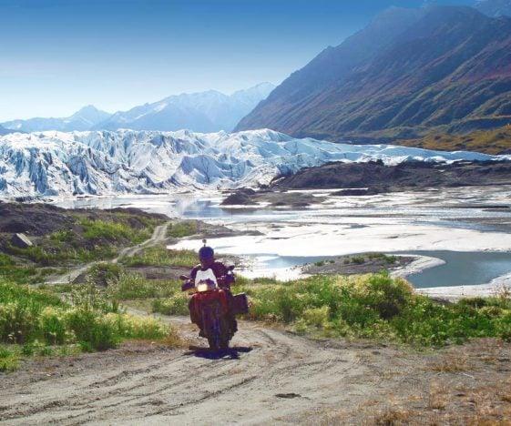 Alaska motorcycle tours riding glaciers