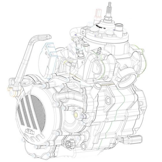 Diagram of KTMs newly developed 2-stroke Fuel Injection Engine